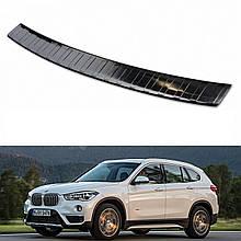 Захисна накладка на задній бампер для BMW X1 F48 2015-2020, LIFT 2020+ /чорн.нерж.сталь/