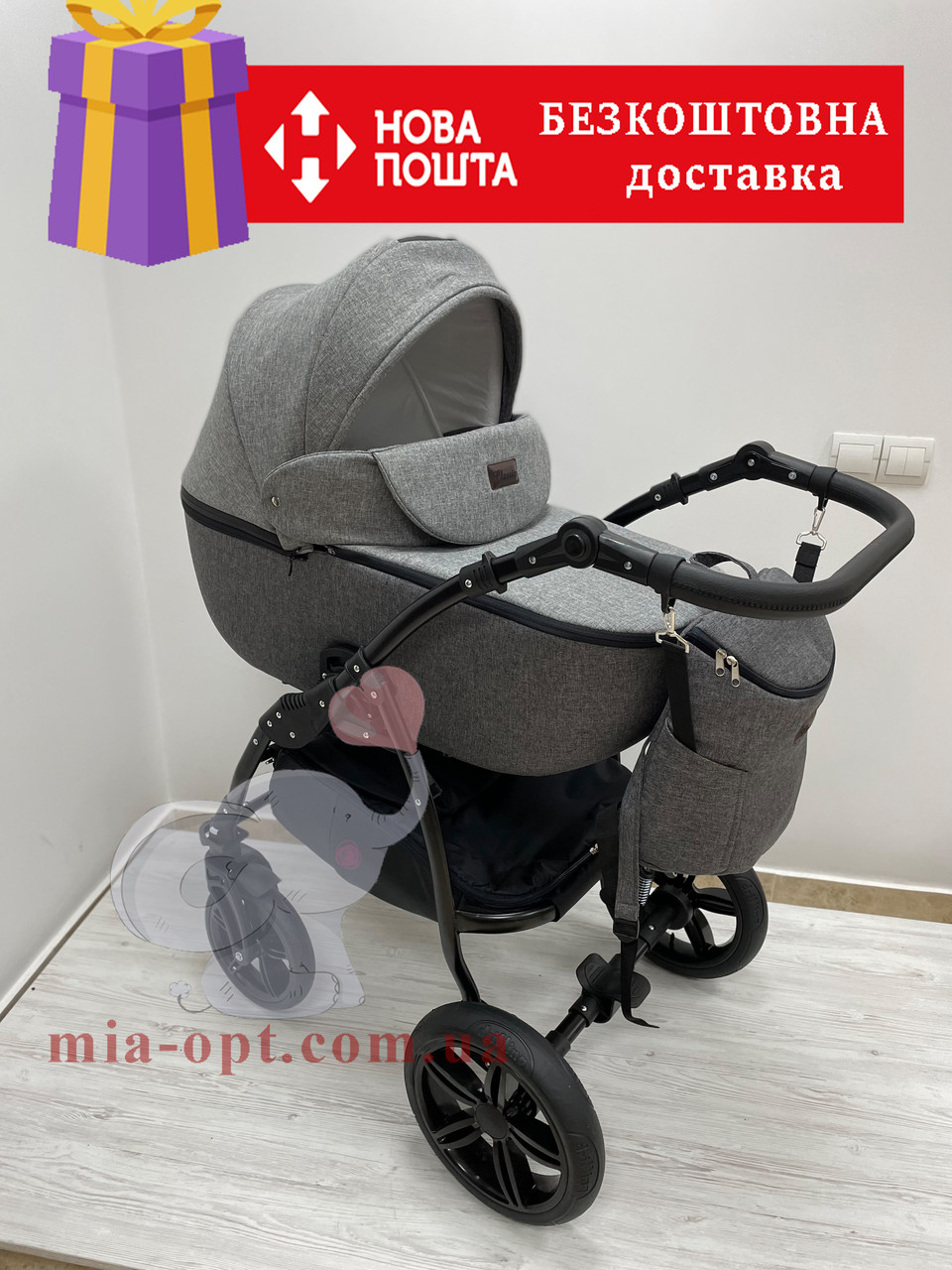 Дитяча коляска 2 в 1 Classik Len(Класик Льон) Victoria Gold Графіт сіра