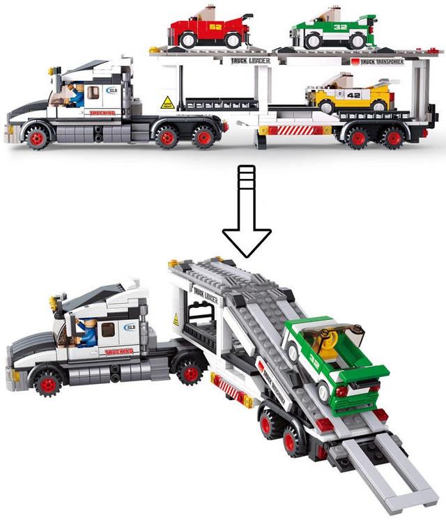 Конструктор Автовоз, Трейлер с машинками Sluban M38-B0339, 638 деталей