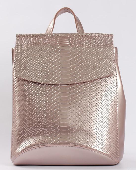 Женский розовый рюкзак-сумка из натуральной кожи под змеиную кожу с клапаном Tiding Bag  - 28569