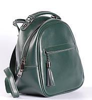 Зеленый небольшой рюкзак-сумка из натуральной кожи на одно отделение Tiding Bag - 20204, фото 1