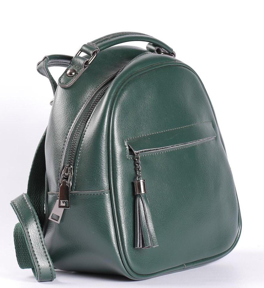 Зеленый небольшой рюкзак-сумка из натуральной кожи на одно отделение Tiding Bag - 20204