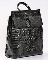 Жіночий чорний рюкзак-сумка з натуральної шкіри з тисненням під шкіру крокодила Tiding Bag - 27761