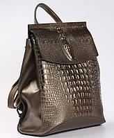 Женский кожаный рюкзак-сумка бронзового цвета с тиснением под кожу крокодила Tiding Bag  - 99606, фото 1