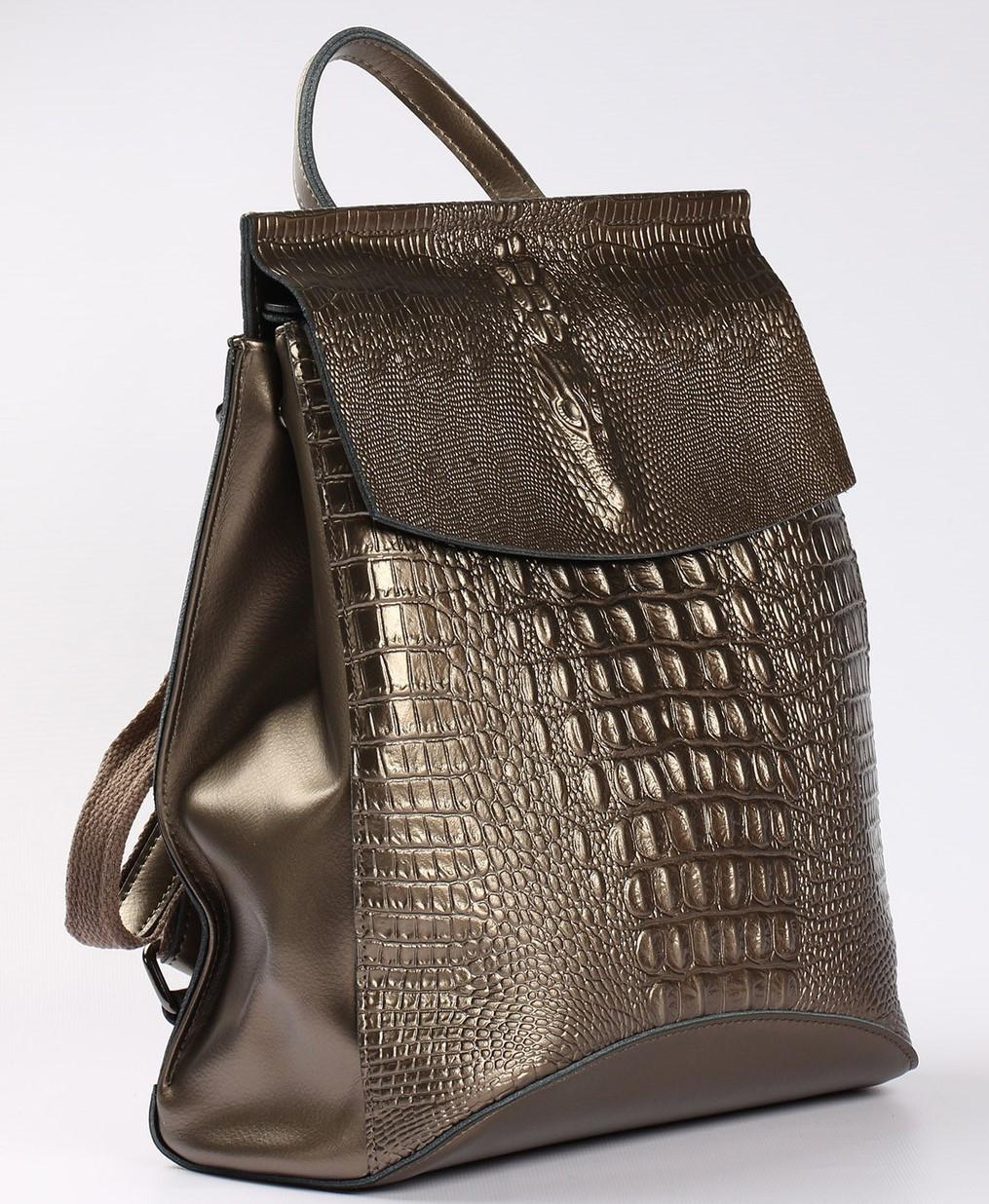 Женский кожаный рюкзак-сумка бронзового цвета с тиснением под кожу крокодила Tiding Bag  - 99606