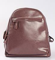 Жіночий міський рюкзак з натуральної шкіри на два відділення Рожевий Tiding Bag - 76658