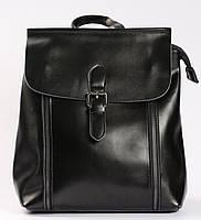 Жіночий чорний міський рюкзак з натуральної шкіри Tiding Bag - 28899