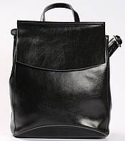Женский черный кожаный городской рюкзак Tiding Bag - 54644