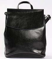 Жіночий чорний шкіряний рюкзак міський Tiding Bag - 54644
