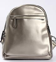 Жіночий міський рюкзак з натуральної шкіри на два відділення Срібло Tiding Bag - 24764