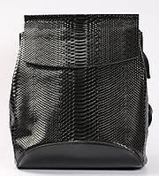 Жіночий чорний рюкзак-сумка з натуральної шкіри під зміїну шкіру з клапаном Tiding Bag - 34393