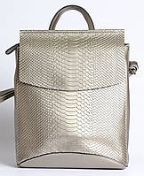 Женский серебристый рюкзак-сумка из натуральной кожи под змеиную кожу с клапаном Tiding Bag  - 98790