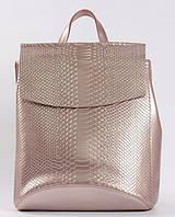 Жіночий рожевий рюкзак-сумка з натуральної шкіри під зміїну шкіру з клапаном Tiding Bag - 28569