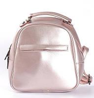 Розовый перламутровый небольшой рюкзак-сумка из натуральной кожи на одно отделение Tiding Bag - 21217