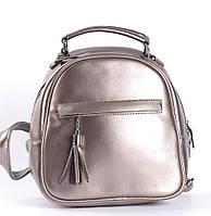 Бронзовий невеликий рюкзак-сумка з натуральної шкіри на одне відділення Tiding Bag - 13286