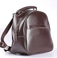 Коричневый небольшой рюкзак-сумка из натуральной кожи на одно отделение Tiding Bag - 00385