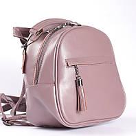 Рожевий невеликий рюкзак-сумка з натуральної шкіри на одне відділення Tiding Bag - 25663