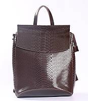 Женский коричневый рюкзак-сумка из натуральной кожи под змеиную кожу с клапаном Tiding Bag  - 24099
