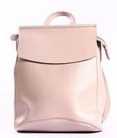 Жіночий рожевий (пудровий) міський рюкзак з натуральної шкіри Tiding Bag - 24008