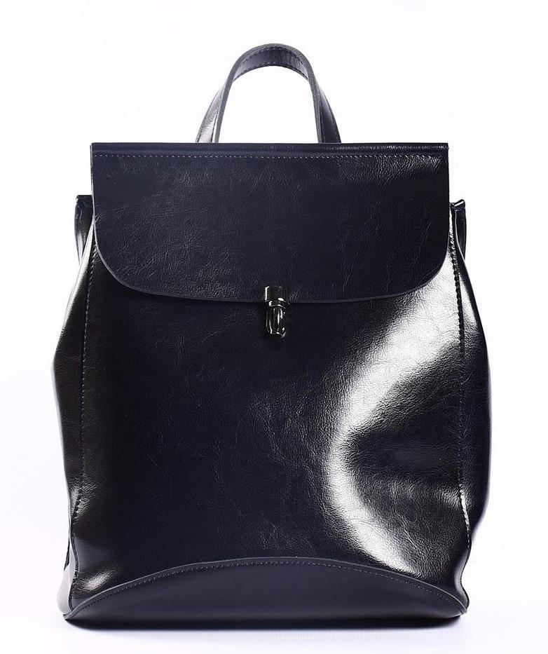 Жіночий темно-синій міський рюкзак з натуральної шкіри Tiding Bag - 94076