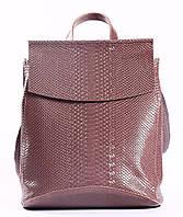 """Жіночий рожевий (лілово-рожевий) шкіряний рюкзак-сумка з тисненням """" під зміїну шкіру Tiding Bag - 24884"""