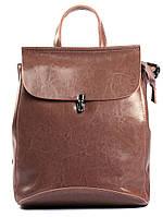 Жіночий темно-рожевий (пудровий) міський рюкзак з натуральної шкіри Tiding Bag - 87671