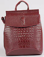 Жіночий бордовий рюкзак-сумка з натуральної шкіри з тисненням під шкіру крокодила Tiding Bag - 24352
