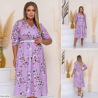 Ніжне романтичне розкльошені сукні під пояс з софта з квітковим принтом р: 48-50, 52-54, 56-58 арт. 5059
