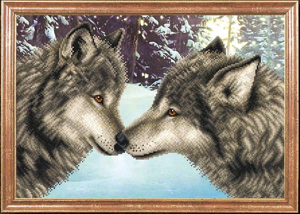 """Рисунок на ткани для вышивания бисером """"Пара волков"""", фото 2"""