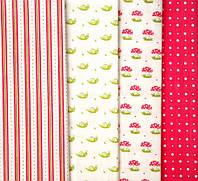 Набор тканей для пэчворка Улитки-мухоморы Art-06