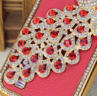Красный Чехол с павлином и камнями Сваровски для Samsung Galaxy S4 i9500, фото 1