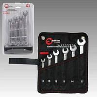 Набор ключей комбинированных 6-17 мм, 6 шт, чехол, Intertool