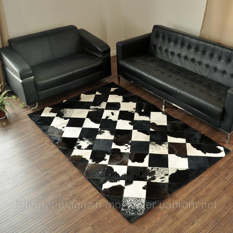 Шикарний килим з шкури чорно білої корови