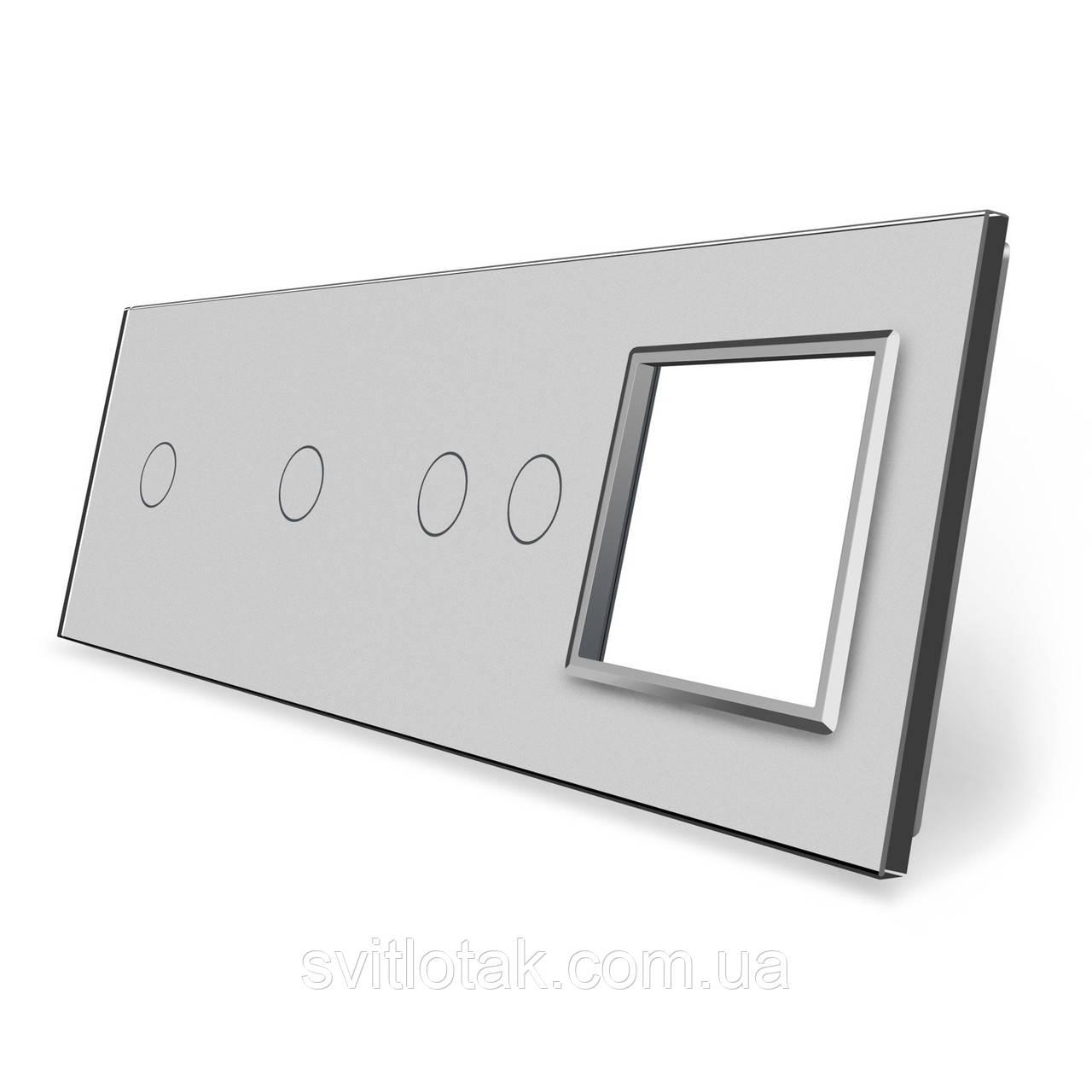 Сенсорная панель выключателя 4 сенсора и розетку (1-1-2-0) серый стекло Livolo (VL-P701/01/02/E-8I)