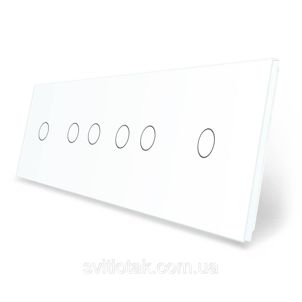 Сенсорна панель вимикача 6 сенсорів (1-2-2-1) білий скло Livolo (VL-P701/02/02/01-8W)