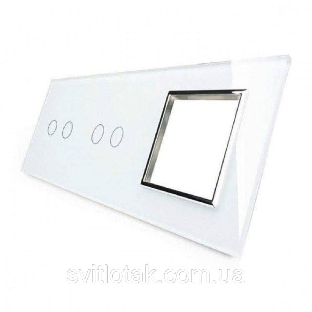 Сенсорная панель комбинированная для выключателя 4 сенсора 1 розетка (2-2-0) белый хром стекло Livolo