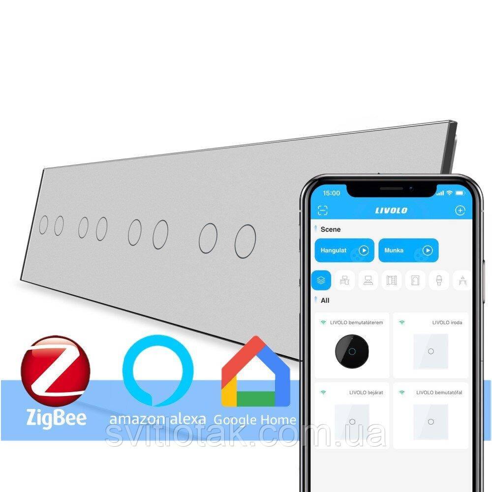 Сенсорный ZigBee выключатель 10 сенсоров (2-2-2-2-2) серый стекло Livolo (VL-C710Z-15)