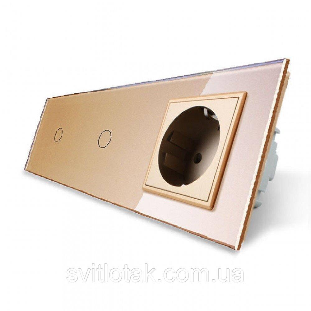 Сенсорный ZigBee выключатель 2 сенсора (1-1) 1 розетка золото стекло Livolo (VL-C701Z/C701Z/C7C1EU-13)