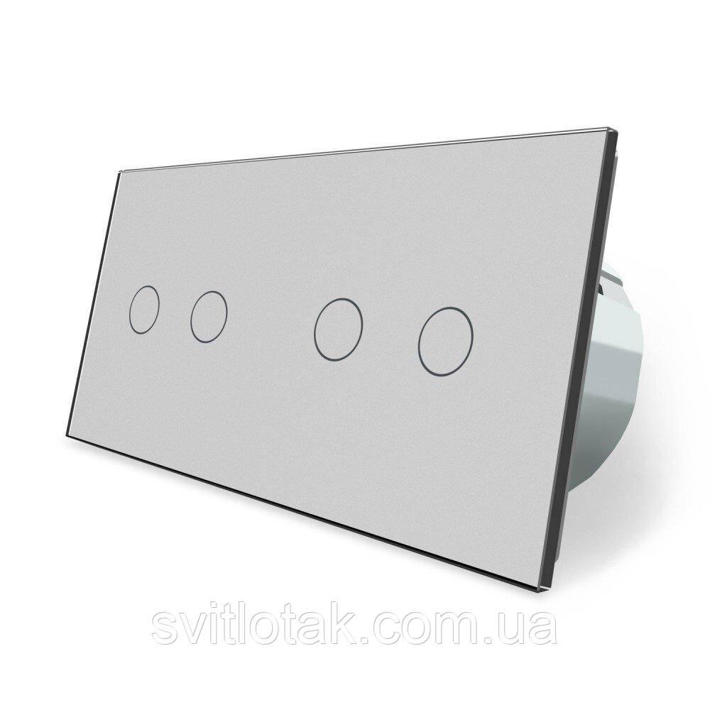 Сенсорный ZigBee выключатель 4 сенсора (2-2) серый стекло Livolo (VL-C702Z/C702Z-15)