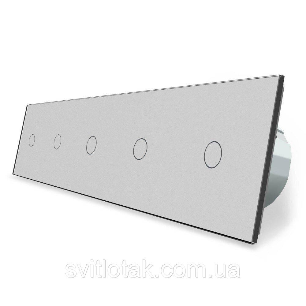 Сенсорний ZigBee вимикач 5 сенсорів (1-1-1-1-1) сірий скло Livolo (VL-C705Z-15)