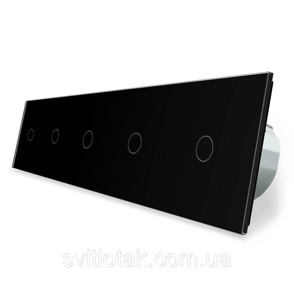 Сенсорный ZigBee выключатель 5 сенсоров (1-1-1-1-1) черный стекло Livolo (VL-C705Z-12)