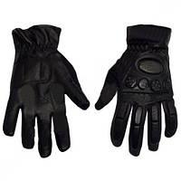 Мотоперчатки кожаные BC-368 (протектор-усилен, р-р L-XL, черный)