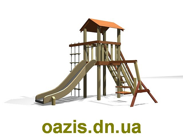 """Детский комплекс """"Вежа"""" с деревянной крышей S004-1"""