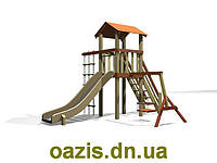 """Детский комплекс """"Вежа"""" с деревянной крышей S004-1, фото 1"""