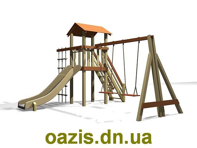 """Детский комплекс """"Вежа"""" с деревянной крышей и качелями от """"Стожар"""""""