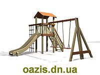 """Детский комплекс """"Вежа"""" с деревянной крышей и качелями от """"Стожар"""", фото 1"""