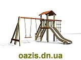 """Детский комплекс """"Вежа"""" с деревянной крышей и качелями от """"Стожар"""", фото 2"""