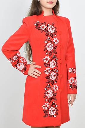 """Пальто женское с вышивкой """"Мрия""""  красное, фото 2"""