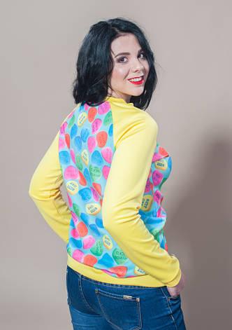 Женская кофта желтая свитшот, фото 2