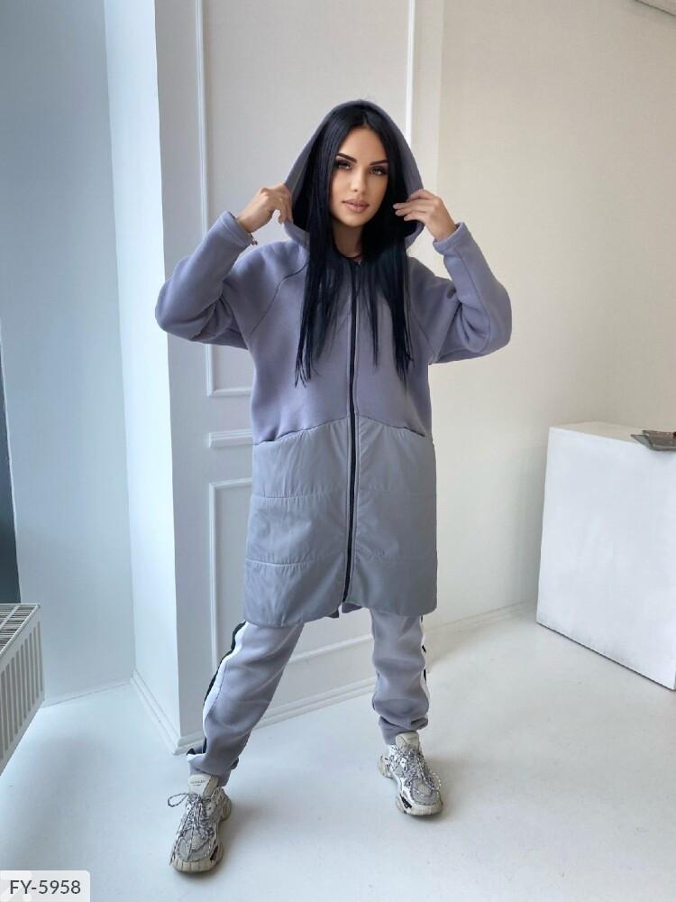 Жіноча куртка трехнить на флісі з вставкою із плащівки, 42-46, сірий, мокко